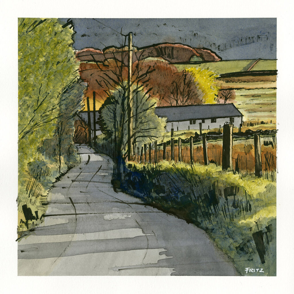 Evening Sunlight, Dark Lane, Delph