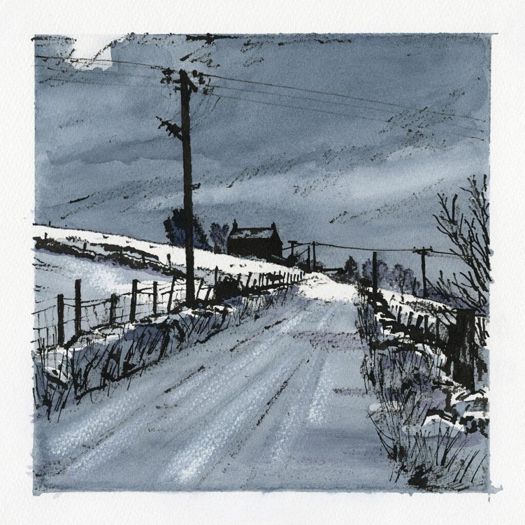 Drifting Snow, Heights Lane, Delph